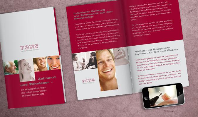Pons Dentaltechnik: Unternehmensfolder