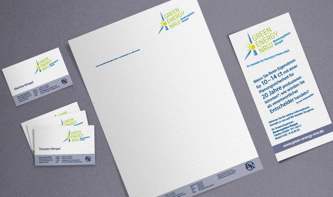 Green Energy NRW: Visitenkarten, Briefbogen und Infoflyer