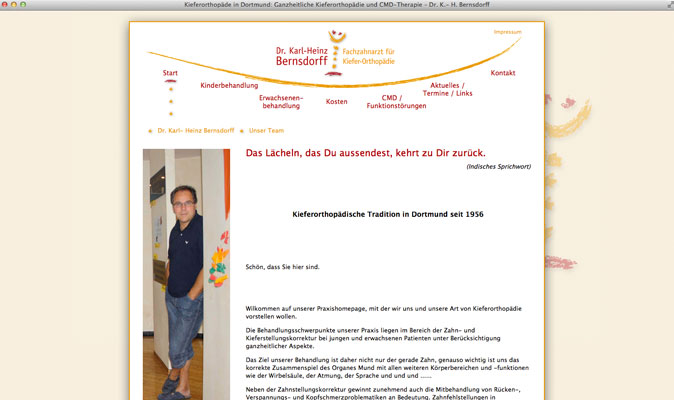 Webdesign für Dr. Bernsdorff, Kiefer-Orthopädie