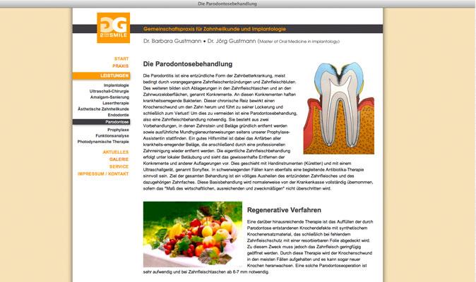 Drs. Gustmann, Zahnheilkunde: Webdesign und CMS
