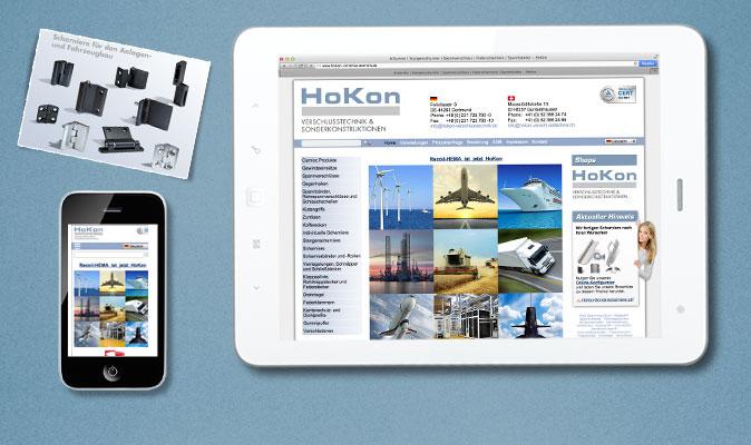 HoKon Verschlusstechnik: responsive Webdesign, CMS