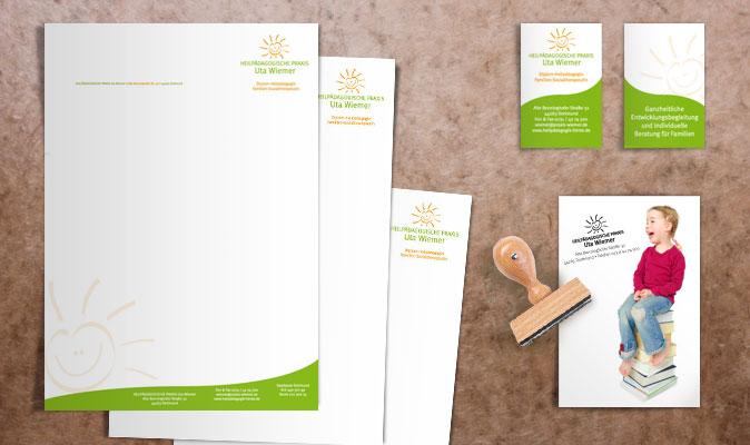 Heilpädagogische Praxis Uta Wiemer: Briefbogen, Zweitbogen, 2-seitige Visitenkarte und Stempel